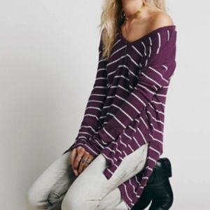 Free people purple sunset park stripe thermal top